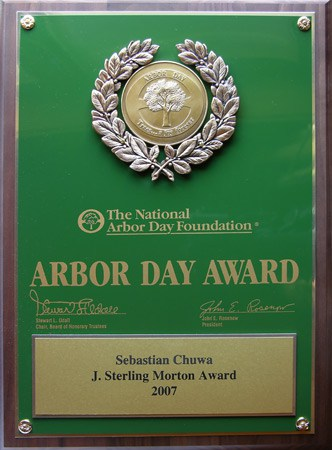 Arbor Day Award plaque
