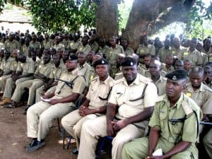2012 - Police Academy cadets at ceremony to launch ABCP mpingo planting program on academy grounds.