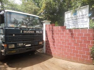 2012 - Police Academy van at Moshi Mpingo Plot to load mpingo trees for replanting initiative.