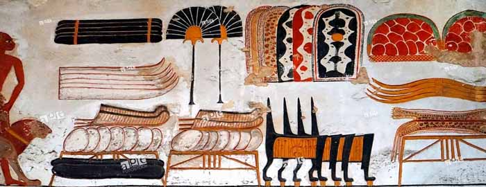 Temple frieze from Beit el-Wali showing trade goods brought to the Egyptian pharaoh