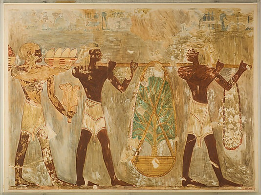 Incense trees are being loaded onto Hatshepsut's ships for voyage back to Egypt>