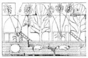 Depiction of Punt village, with houses built on stilts and ladders for ascent