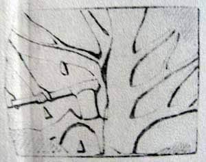 """Naville drawing of """"The Felling of Ebony Trees"""""""