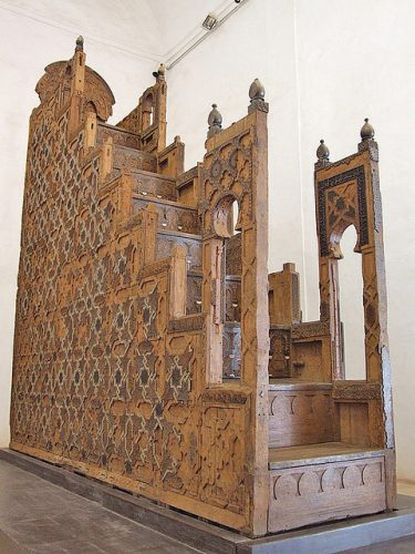 Islamic minbar constructed of sandalwood and African blackwood is now in the Koutoubia Mosque in Marrakesh.