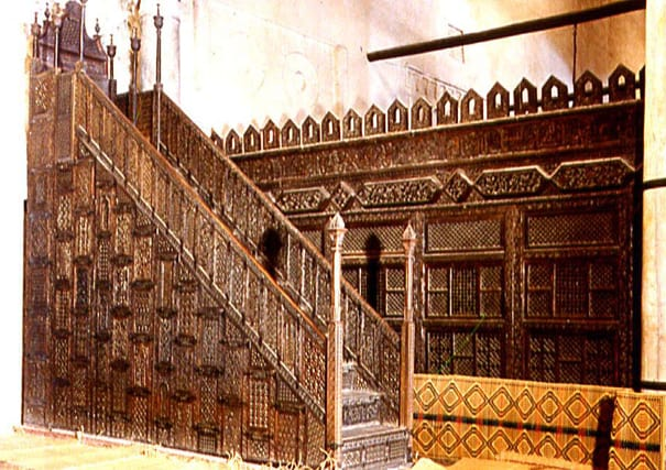 The oldest surviving Islamic Minbar, made of teak, in North Africa is located in the Great Mosque of Kairouan, Tunisia.