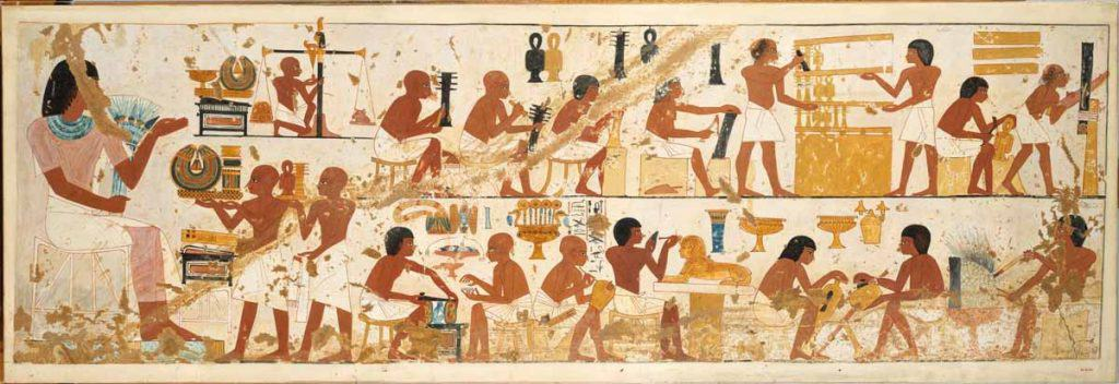 Workmen of Nebamun and Ipuky are bringing their finished work for inspection by the Overseer.
