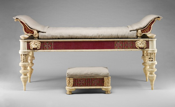 This Roman era couch and footstool, restored by J. Pierpont Morgan, was donated to the Metropolitan Museum of Art.