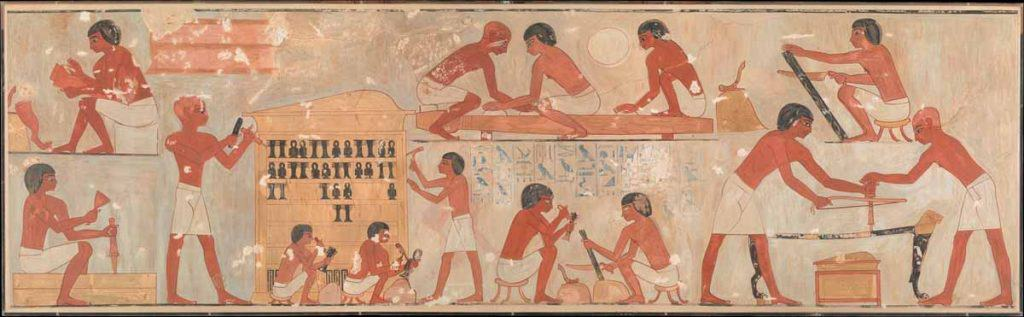 Rekhmire mural of woodworkers fashioning furniture and ritual objects from African blackwood. Credit: metmuseum.org